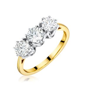 6bb0a4b45f93b3 9ct yellow & white gold 3 stone round brilliant cut diamond in claw  setting. Diamond total carat weight D1.40ct