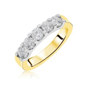 8735cce6a13a12 9ct yellow & white 5 stone round brilliant cut diamond eternity in claw  setting. Diamond total carat weight D1.00ct