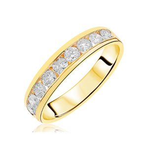 c51812f9e88444 9ct yellow gold 9st round brilliant cut diamond eternity in channel  setting. Diamond total carat weight D.75ct