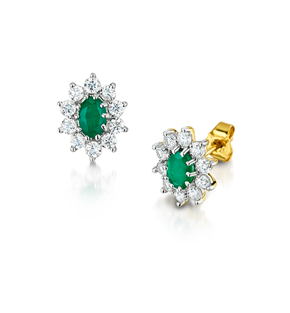 9ct Yellow And White Gold Oval Emerald Round Brilliant Cut Diamond Cer Earrings Total Carat Weight D1 00ct