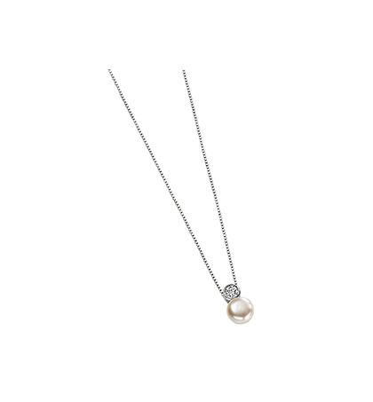 8dcdcaea0333e5 Silver round cubic zirconia and white pearl drop pendant | McGowans ...