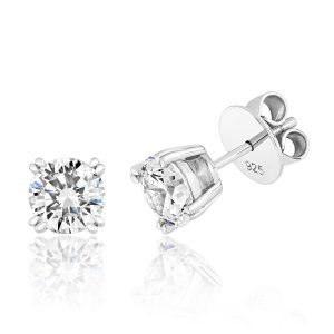3c9bcf513 Silver and rhodium plated cubic zirconia stud earrings in a claw setting