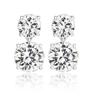 2cd49704b Silver and rhodium plated cubic zirconia double drop earrings in a claw  setting