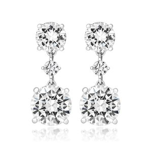 9eca54632 Silver and rhodium plated cubic zirconia triple drop earrings in a claw  setting