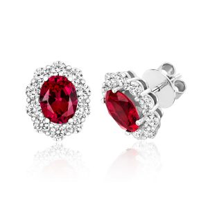 cd3842813 Silver and rhodium plated cubic zirconia cluster earrings with red oval cz  centre in a claw setting