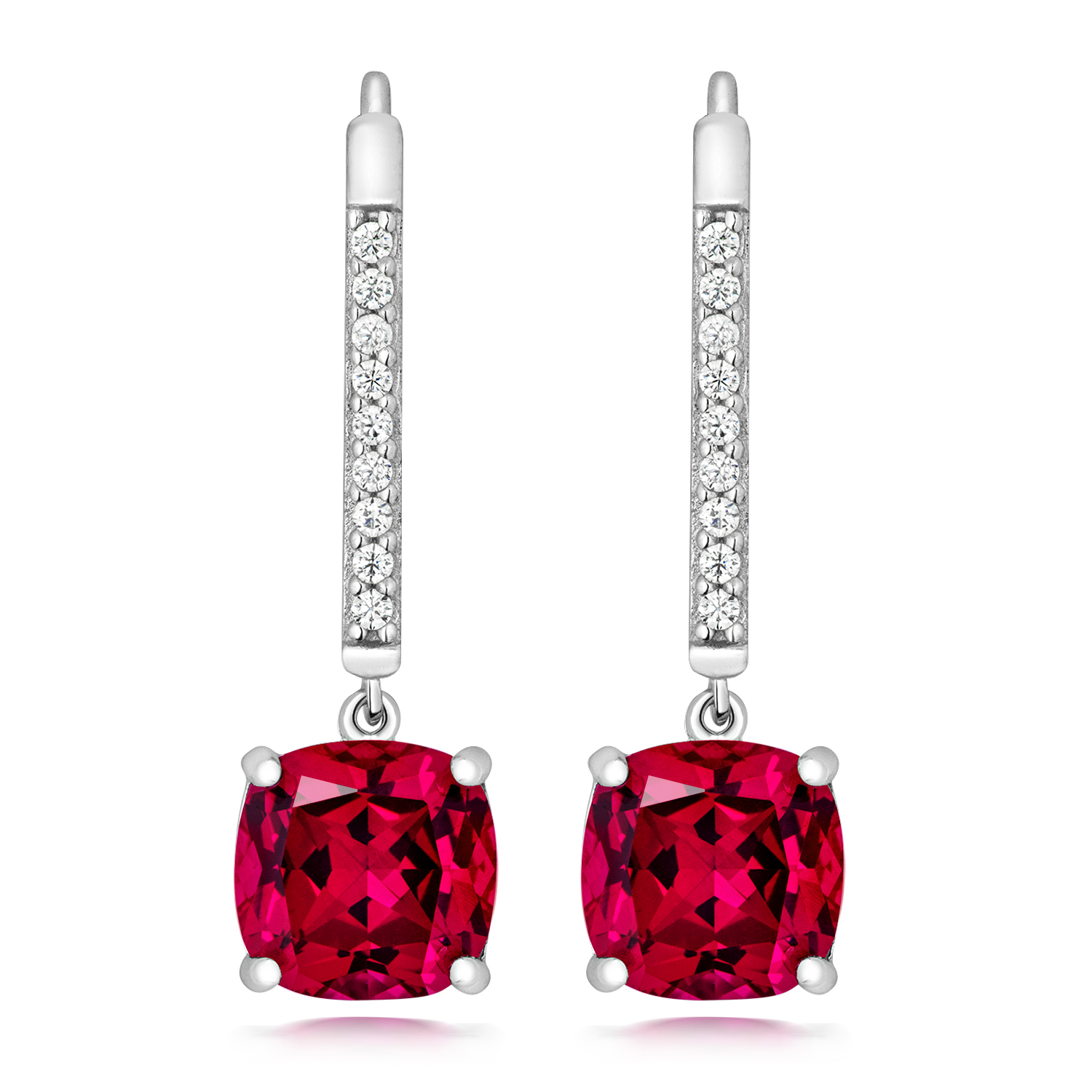 d656b98a0 Silver and rhodium plated cubic zirconia drop earrings with a red ...