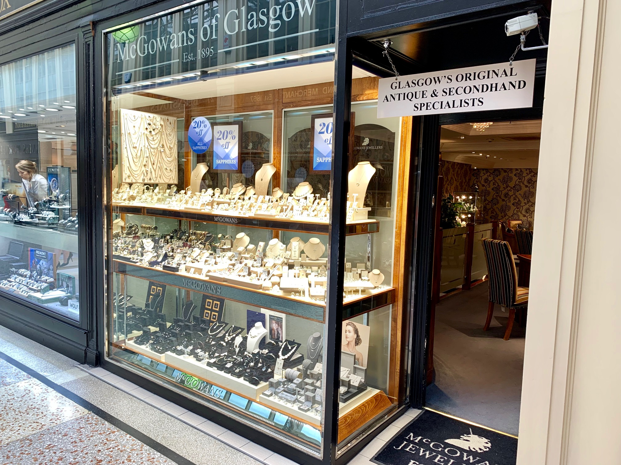 The shop windows of our Glasgow stores in Argyll Arcade